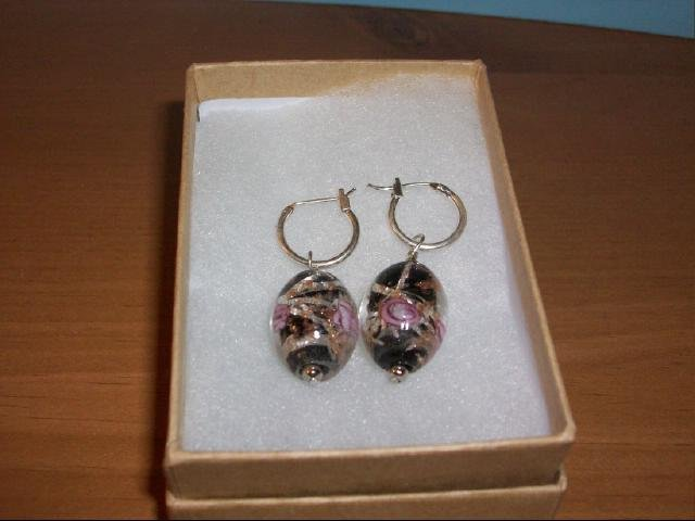Colorful Black and Rose Oval Shaped Glazed Pierced Earring