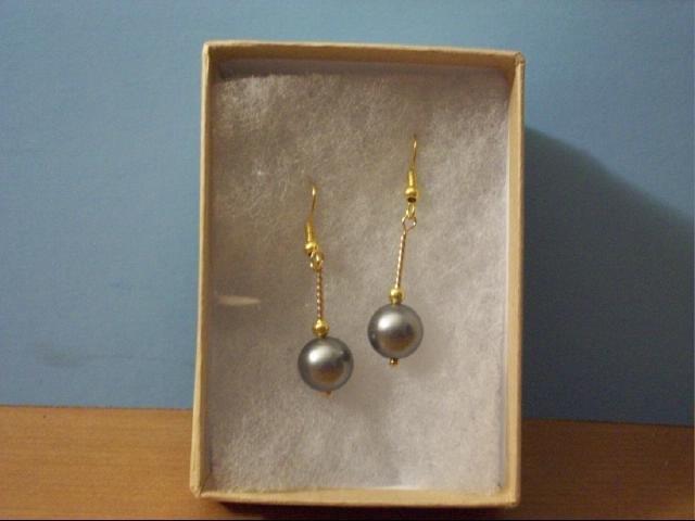 Lovely 8mm Silver Gray Sea Shell Bead Pierced Earring