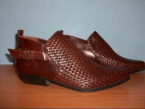 """White Stagg Brown Leather """"Emma"""" Ankle Boots - Size 7 1/2"""