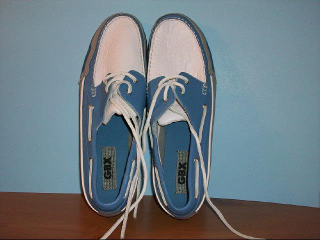 GBX Elite Men's Blue and White Boat Shoe - Size 13 M