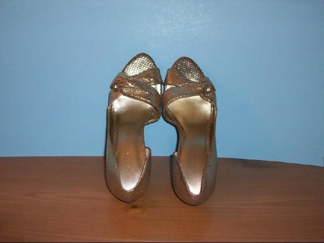 Nine West Gold Snakeskin Design Heels - Size 7 M