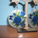 Natural Shell Dangle Earring - Blue Floral Butterfly