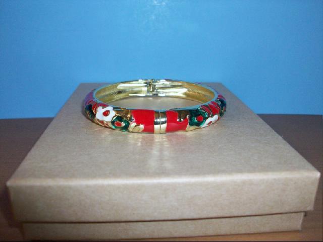 Lovely Cloisonne Red, Green and White Bangle Bracelet