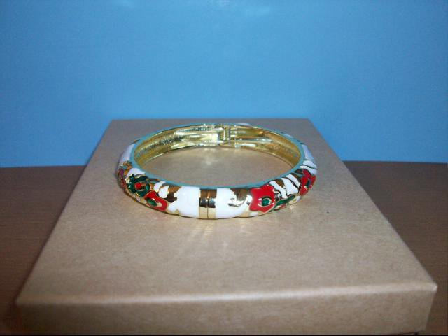 Lovely Cloisonne White, with Red and Green Bangle Bracelet