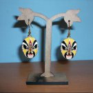 Chinese Cloisonne Decorative Yellow Mask Pierced Earring