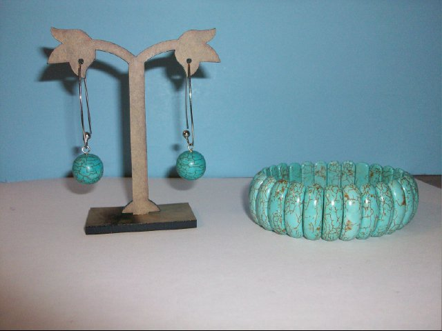 Turquoise Stretchy Bracelet and Pierced Earring Set #1