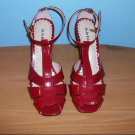 Jo Jo Palace Red Patent Heel Strap Sandals - Size 7 1/2M
