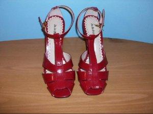 Jo Jo Palace Red Patent Heel Strap Sandals - Size 7 1/2M