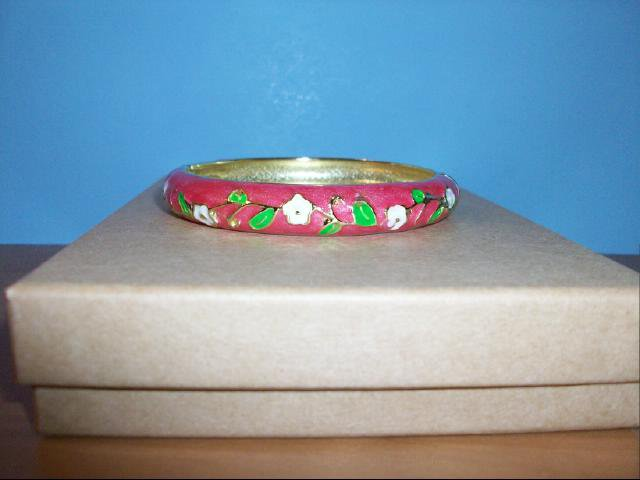 Lovely Pink Cloisonne Bracelet with White Flowers