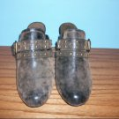 Nicole Brown Distressed Mules - Size 11W