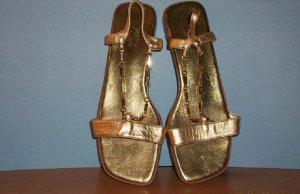 Susan Lucci Gold Color Sandals - Size 9M