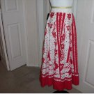 Solitaire Ankle Length Red and White Skirt - Size Small