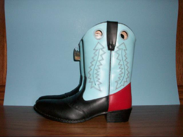 Women's Cimarron Black, Blue and Red Cowgirl Boots - Size 7