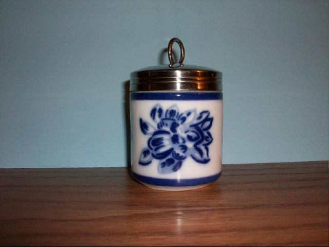 Decorative Collectible Porcelain Jar in Blue and White
