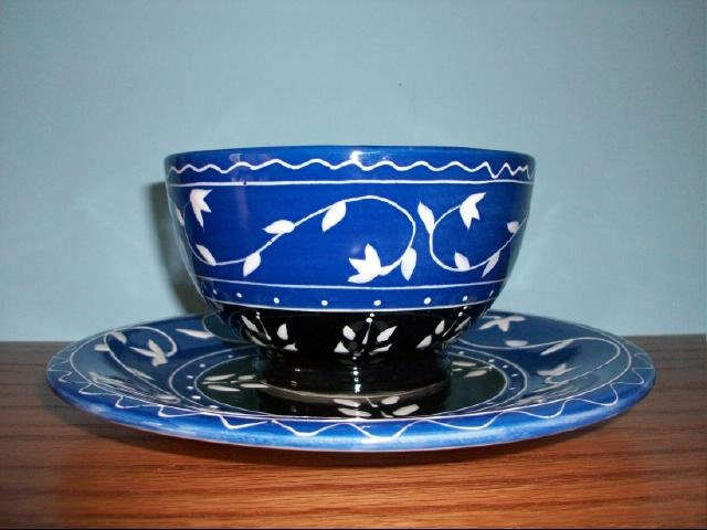 Certified International Decorative Blue & Black Bowl and Plate