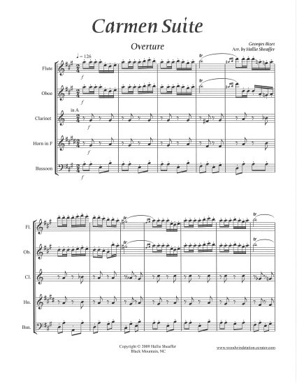 Carmen Suite by Georges Bizet for Woodwind Quintet