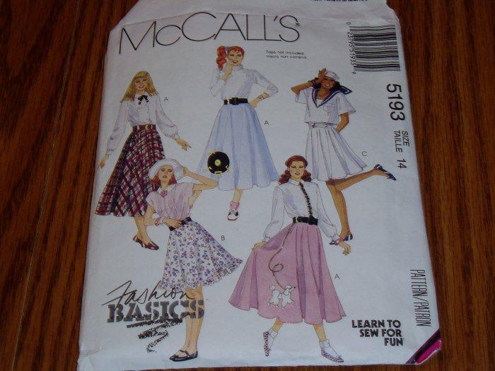 1991 McCall's Fashion Basics Skirt Pattern #5193 Sz 14