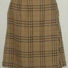 NWT Brown Plaid Sag Harbor Petite Faux Wrap Skirt Sz 12