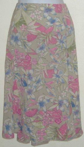 NWT Sag Harbor Tan Floral Skirt Lace Trim Side Zip Size 16