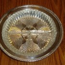 Silver Tray W/Clear Glass Divided Relish/Condiment Dish