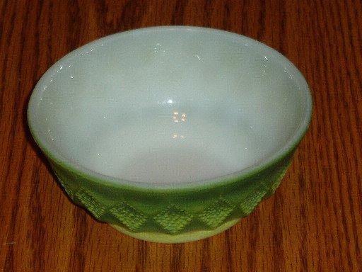 Fire-King Green Kimberly Pattern Dessert/Berry Bowl