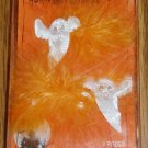 Halloween Orange White Feathered Ghost Barettes NIP