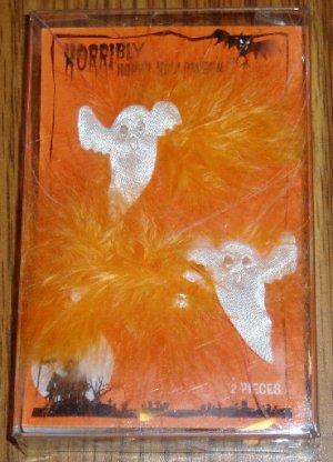 Halloween Orange White Feathered Ghost Barettes NIP