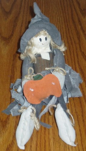 Hand Made Cloth and Wood Halloween Witch Decor