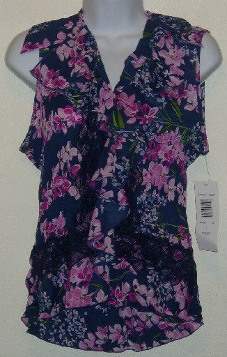 NWT Navy Blue/Pink Floral Allison Taylor Blouse/Top Large