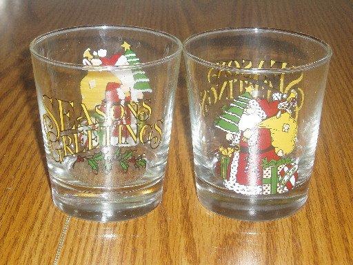 Set of 2 Anchor Hocking Santa/Holiday Rocks Glasses
