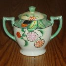 Green Pearlized Handpainted Floral Japanese Decorative Urn