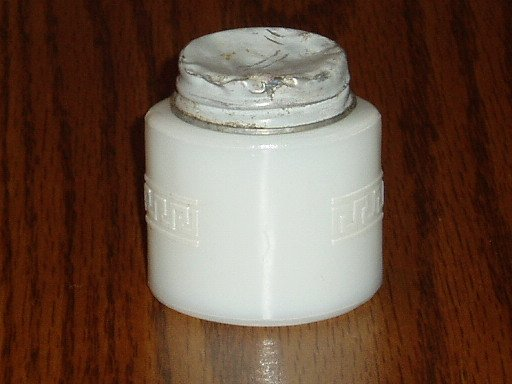Vintage Woodbury Milk Glass Bottle Jar Scroll Design