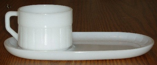 Vintage Federal White Milk Glass Cup and Snack Tray Set