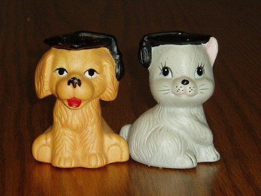 Puppy and Kitten Graduate Figural Salt/Pepper Shakers