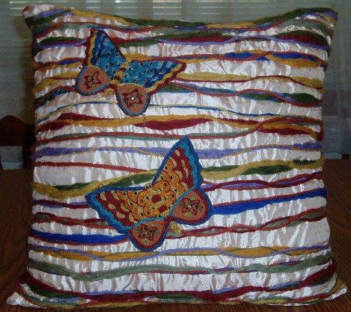 Pier 1 Pillow Butterfly Design Multi-Color Stripe Beads