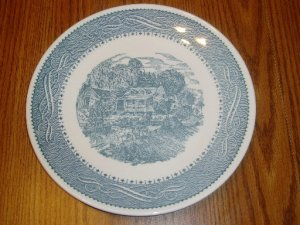 Taylor Smith & Taylor Currier & Ives  Dinner Plate Blue