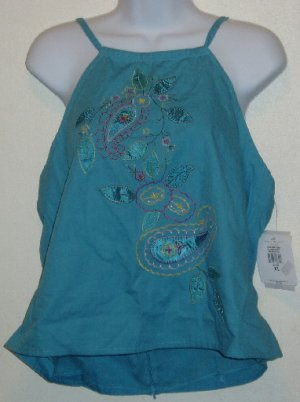 NWT Bandolino Blue Embroidered Halter Top Size XL