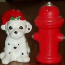 Dalmation in Santa Hat & Fire Hydrant Salt Pepper Shakers