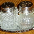 Glass Miniature Individual Salt Pepper Shakers With Tray