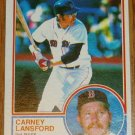 1983 MLB Topps Carney Lansford Card #523 Red Sox