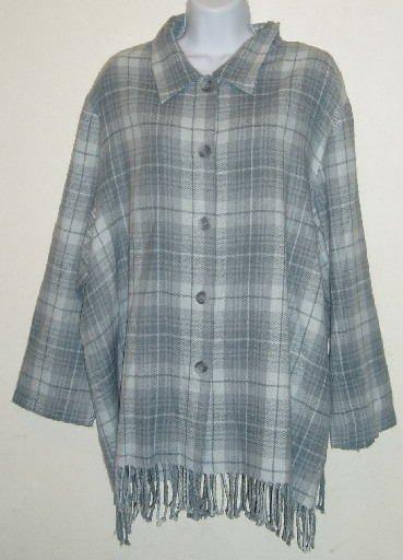 Norton McNaughton Gray Plaid Fringed Shirt Sz 22 24 2X
