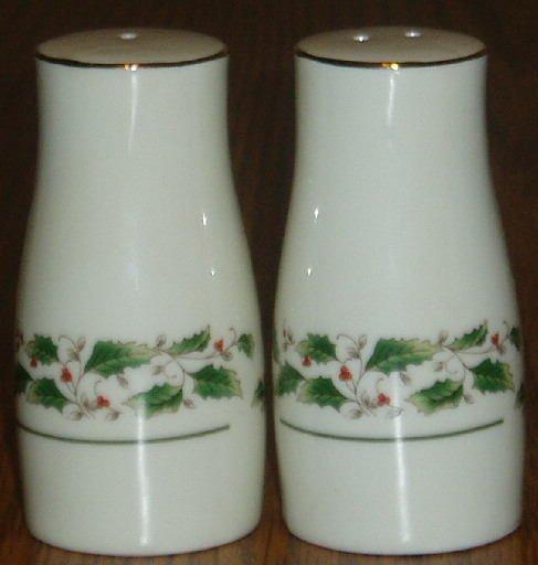 Holly Bough Porcelain Salt Pepper Shakers 22K Gold Rim
