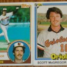 Lot of 2 Scott McGregor Orioles Cards Donruss & Topps MLB