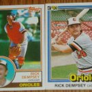 Lot of 2 Rick Dempsey Orioles Cards Donruss & Topps MLB