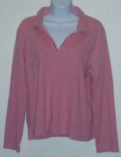 Liz Claiborne Lizsport Pink V-Neck LS Shirt Top Size XL