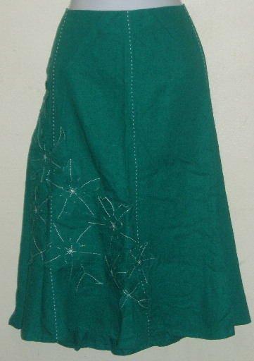 NWT Sag Harbor Green Floral Applique Skirt Size 22 W