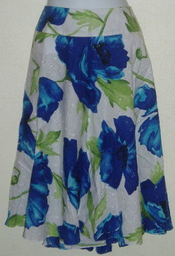 NWT Sag Harbor Blue White Floral Cotton Eyelet Skirt Size 18