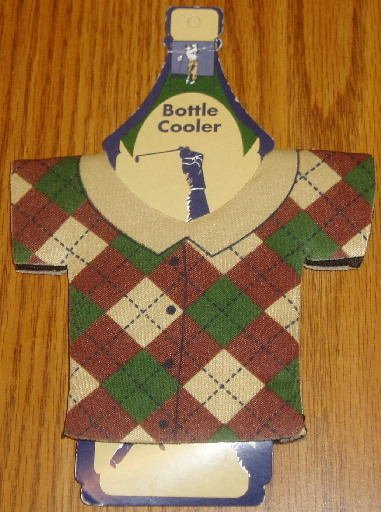 Golf Shirt Bottle Cooler Koozie New Burgandy Tan Green