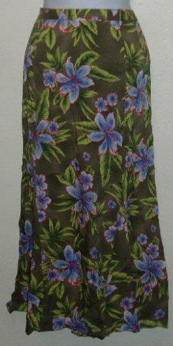 NWT Sag Harbor Size 10 Olive Green/Purple Floral Skirt