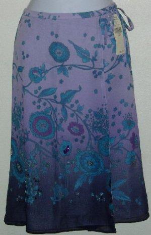 NWT Valerie Stevens Purple Floral Jeweled Skirt Size 4